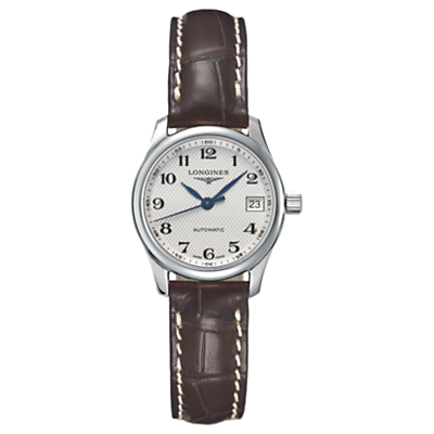 Longines L21284783 Women's Master Collection Automatic Date Alligator Leather Strap Watch, Brown/Silver