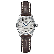 Buy Longines L21284783 Women's Master Collection Automatic Date Alligator Leather Strap Watch, Brown/Silver Online at johnlewis.com