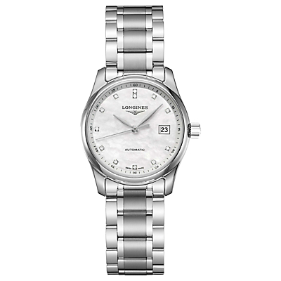 Longines L22574876 Women's Master Collection Automatic Date Diamond Bracelet Strap Watch, Silver/Mother of Pearl