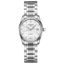 Buy Longines L22574876 Women's Master Collection Automatic Date Diamond Bracelet Strap Watch, Silver/Mother of Pearl Online at johnlewis.com
