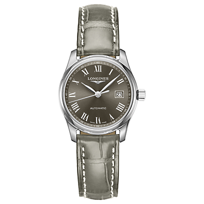 Longines L22574713 Women's Master Collection Automatic Date Leather Strap Watch, Grey