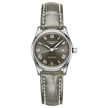 Buy Longines L22574713 Women's Master Collection Automatic Date Leather Strap Watch, Grey Online at johnlewis.com
