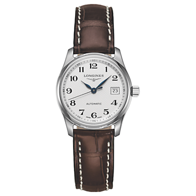 Longines L22574783 Women's Master Collection Automatic Date Leather Strap Watch, Brown/White