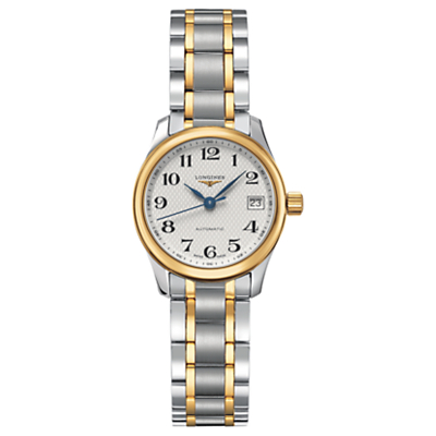 Longines L21285787 Women's Master Collection Automatic Date Two Tone Bracelet Strap Watch, Silver/Gold
