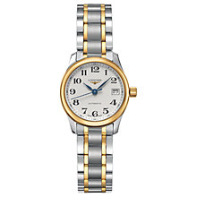 Buy Longines L21285787 Women's Master Collection Automatic Date Two Tone Bracelet Strap Watch, Silver/Gold Online at johnlewis.com