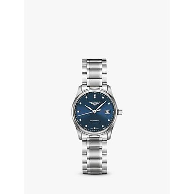 Longines L22574976 Women's Master Collection Automatic Date Diamond Bracelet Strap Watch, Silver/Blue