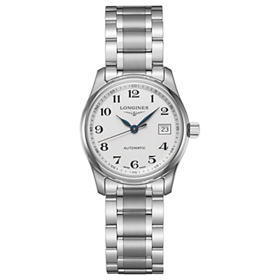 Longines L22574786 Women's Master Collection Automatic Date Bracelet Strap Watch, Silver/White