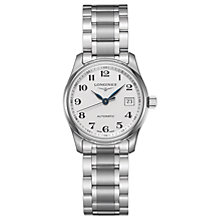 Buy Longines L22574786 Women's Master Collection Automatic Date Bracelet Strap Watch, Silver/White Online at johnlewis.com