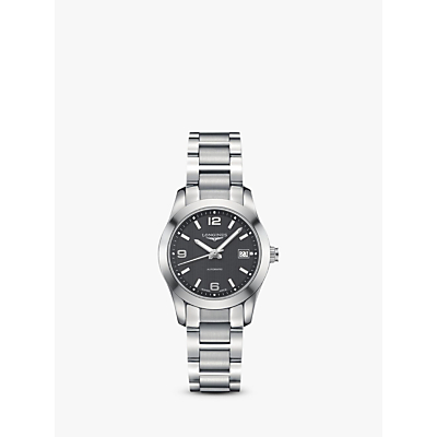 Longines L22854566 Women's Conquest Classic Automatic Date Bracelet Strap Watch, Silver/Black