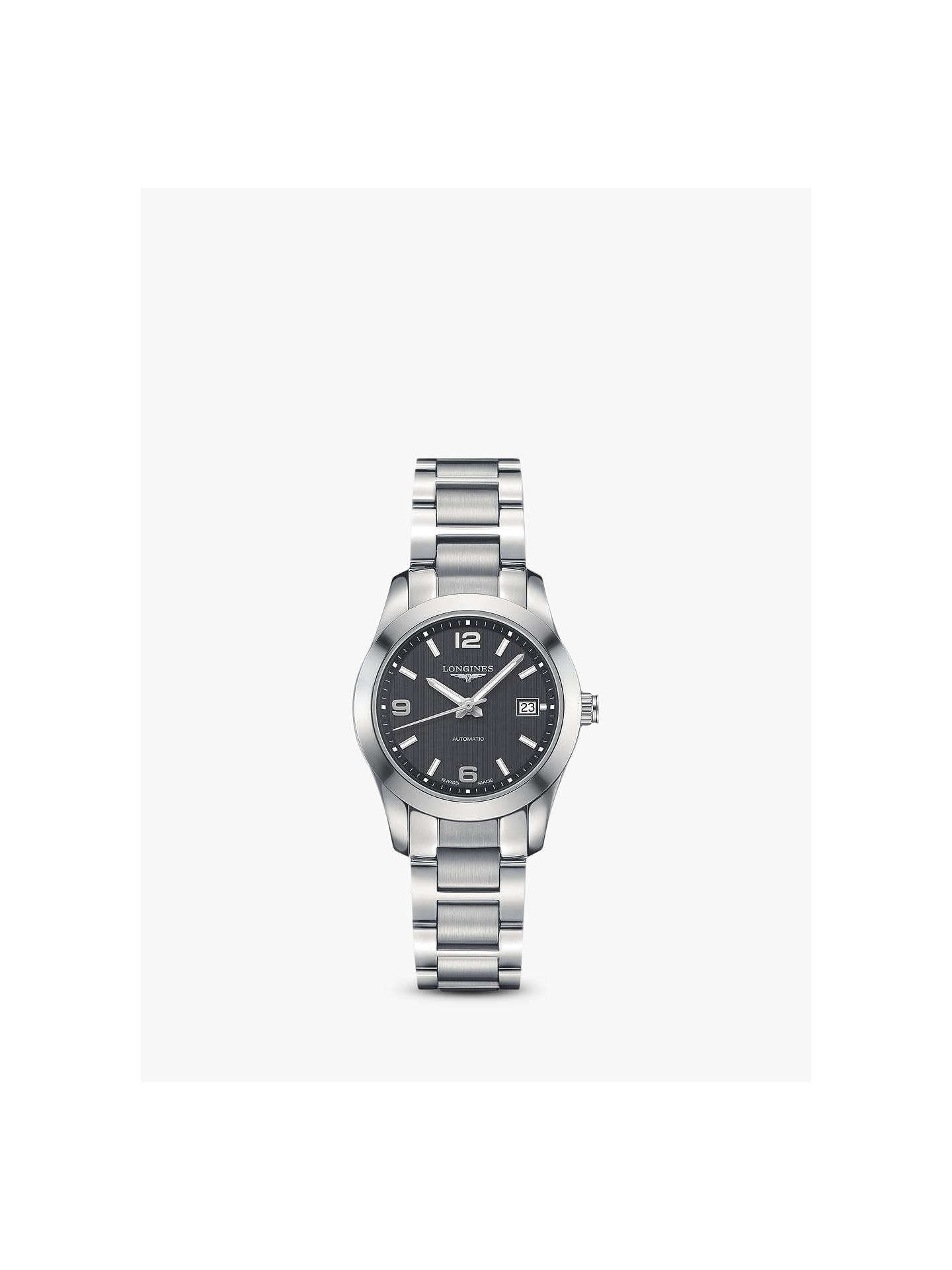 9fe389bb510 Buy Longines L22854566 Women's Conquest Classic Automatic Date Bracelet  Strap Watch, Silver/Black Online ...