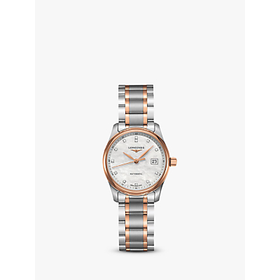 Longines L22575897 Women's Master Collection Automatic Date Diamond Two Tone Bracelet Strap Watch, Silver/Rose Gold