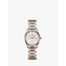 Buy Longines L22575897 Women's Master Collection Automatic Date Diamond Two Tone Bracelet Strap Watch, Silver/Rose Gold Online at johnlewis.com