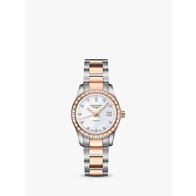 Longines L22855887 Women's Conquest Classic Diamond Automatic Date Bracelet Strap Watch, Silver/Rose Gold