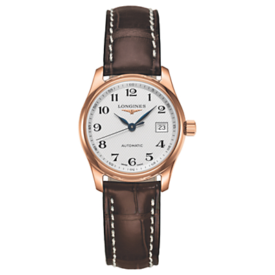 Longines L22578783 Women's Master Collection Automatic Date Leather Strap Watch, Brown/White