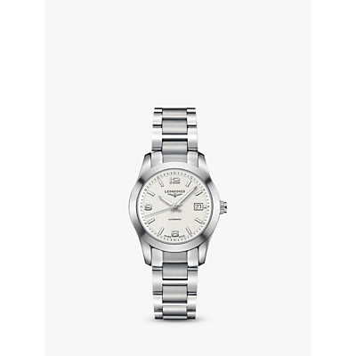 Longines L22854766 Women's Conquest Classic Automatic Date Bracelet Strap Watch, Silver/White