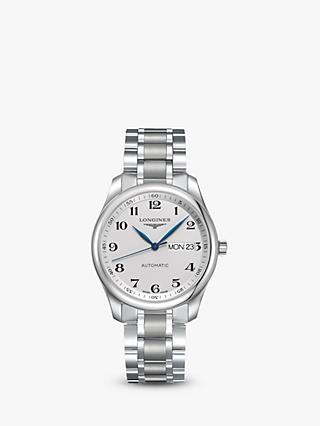 Longines L27554786 Men's Master Collection Automatic Day Date Bracelet Strap Watch, Silver
