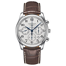 Buy Longines L27594785 Men's Master Collection Automatic Date Chronograph Alligator Leather Strap Watch, Brown/White Online at johnlewis.com
