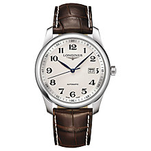 Buy Longines L27934783 Men's Master Collection Automatic Date Alligator Leather Strap Watch, Brown/Silver Online at johnlewis.com