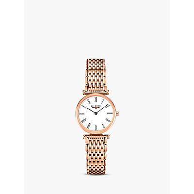Longines L42091918 Women's La Grande Classique Bracelet Strap Watch, Rose Gold/White