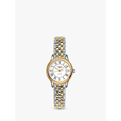 Longines L42743217 Women's Flagship Automatic Date Two Tone Bracelet Strap Watch, Silver/Gold