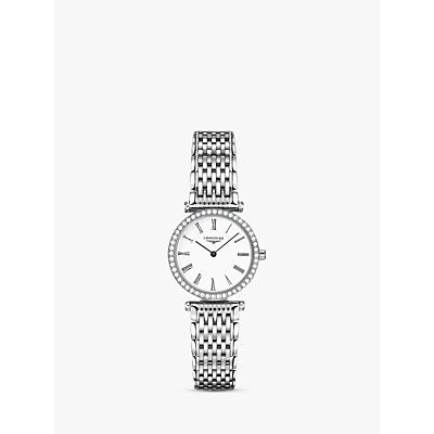 Longines L42410116 Women's La Grande Classique Diamond Bracelet Strap Watch, Silver/White