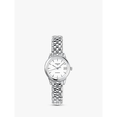 Longines L42744126 Women's Flagship Automatic Date Bracelet Strap Watch, Silver/White