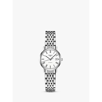 Longines L43094116 Women's Elegant Automatic Date Bracelet Strap Watch, Silver/White