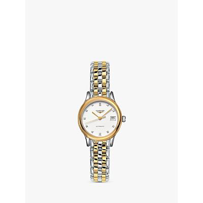 Longines L42743277 Women's Flagship Automatic Diamond Date Two Tone Bracelet Strap Watch, Silver/Gold