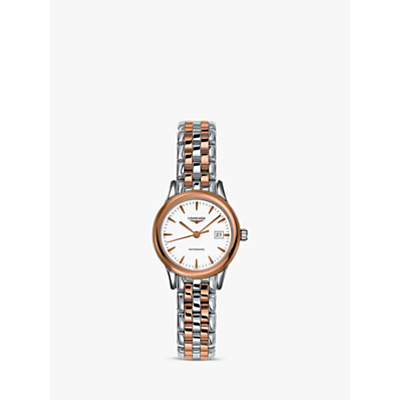 Longines L43743927 Women's Flagship Automatic Date Two Tone Bracelet Strap Watch, Silver/Rose Gold