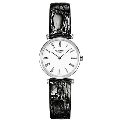Longines L42094112 Women's La Grande Classique Alligator Leather Strap Watch, Black/White