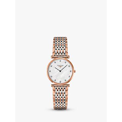 Longines L45121977 Women's La Grande Classique Diamond Two Tone Bracelet Strap Watch, Rose Gold/Silver