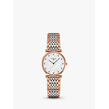 Buy Longines L45121977 Women's La Grande Classique Diamond Two Tone Bracelet Strap Watch, Rose Gold/Silver Online at johnlewis.com