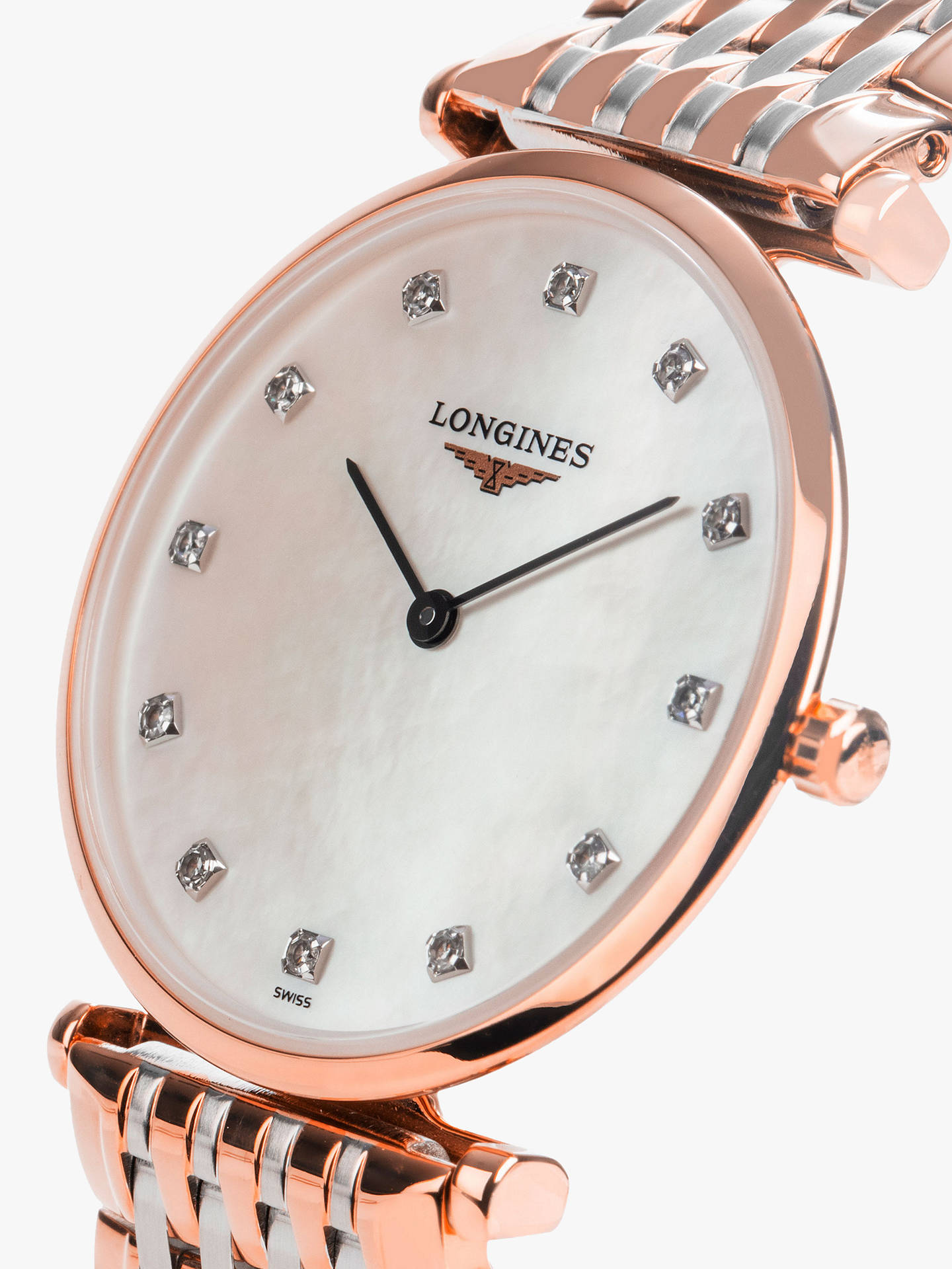 free shipping 45645 9738d Longines L45121977 Women's La Grande Classique Diamond Two Tone Bracelet  Strap Watch, Rose Gold/Silver