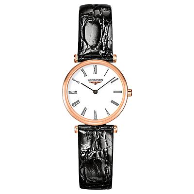 Longines L42091912 Women's La Grande Classique Leather Strap Watch, Black/White