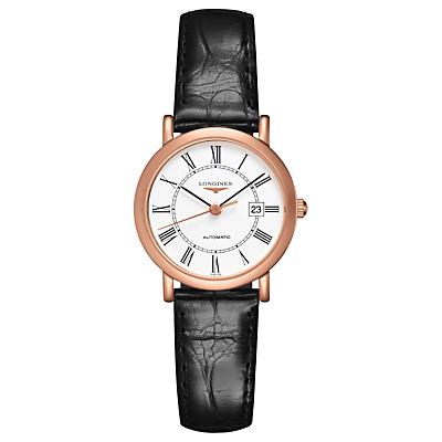 Longines L43788110 Women's Elegant Automatic Date Alligator Leather Strap Watch, Black/White