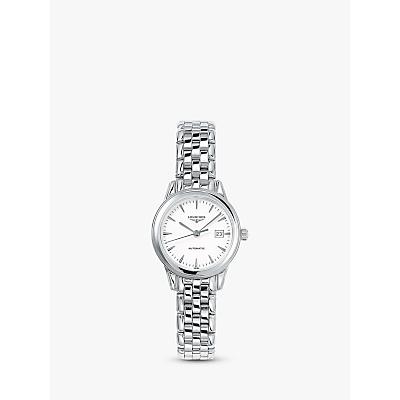 Longines L43744126 Women's Flagship Automatic Date Bracelet Strap Watch, Silver/White