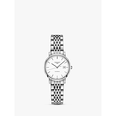 Longines L43104126 Women's Elegant Automatic Date Bracelet Strap Watch, Silver/White