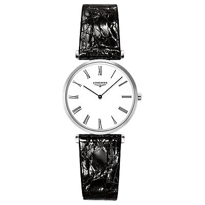 Longines L45124112 Women's La Grande Classique Leather Strap Watch, Black/White