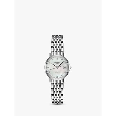 Longines L43094876 Women's Elegant Automatic Diamond Date Bracelet Strap Watch, Silver/Mother of Pearl