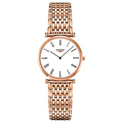 Longines L45121918 Unisex La Grande Classique Bracelet Strap Watch, Rose Gold/White