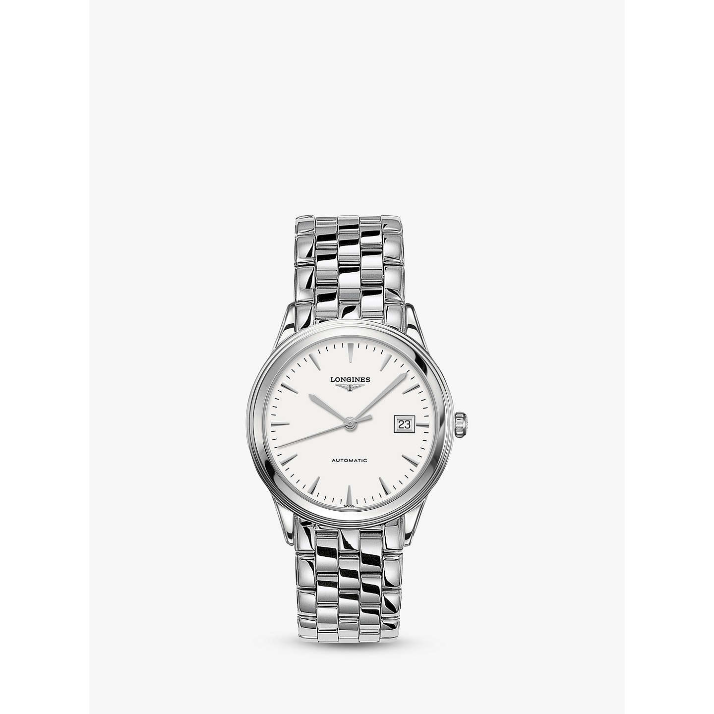 longines l48744126 men u0026 39 s flagship automatic date bracelet strap watch  silver  white at john lewis