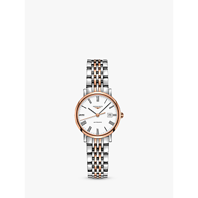 Longines L43105117 Women's Elegant Automatic Date Two Tone Bracelet Strap Watch, Silver/Rose Gold