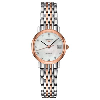 Longines L43095877 Women's Elegant Automatic Diamond Date Two Tone Bracelet Strap Watch, Silver/Rose Gold