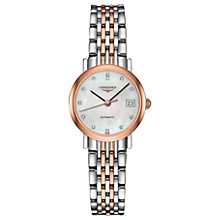 Buy Longines L43095877 Women's Elegant Automatic Diamond Date Two Tone Bracelet Strap Watch, Silver/Rose Gold Online at johnlewis.com