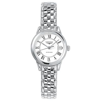 Longines L42744216 Women's Flagship Automatic Date Bracelet Strap Watch, Silver/White