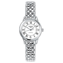 Buy Longines L42744216 Women's Flagship Automatic Date Bracelet Strap Watch, Silver/White Online at johnlewis.com