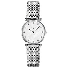 Buy Longines L45124876 Women's La Grande Classique Diamond Bracelet Strap Watch, Silver/Mother of Pearl Online at johnlewis.com