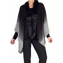 Buy Chesca Faux Fur Collar Poncho, Black Online at johnlewis.com