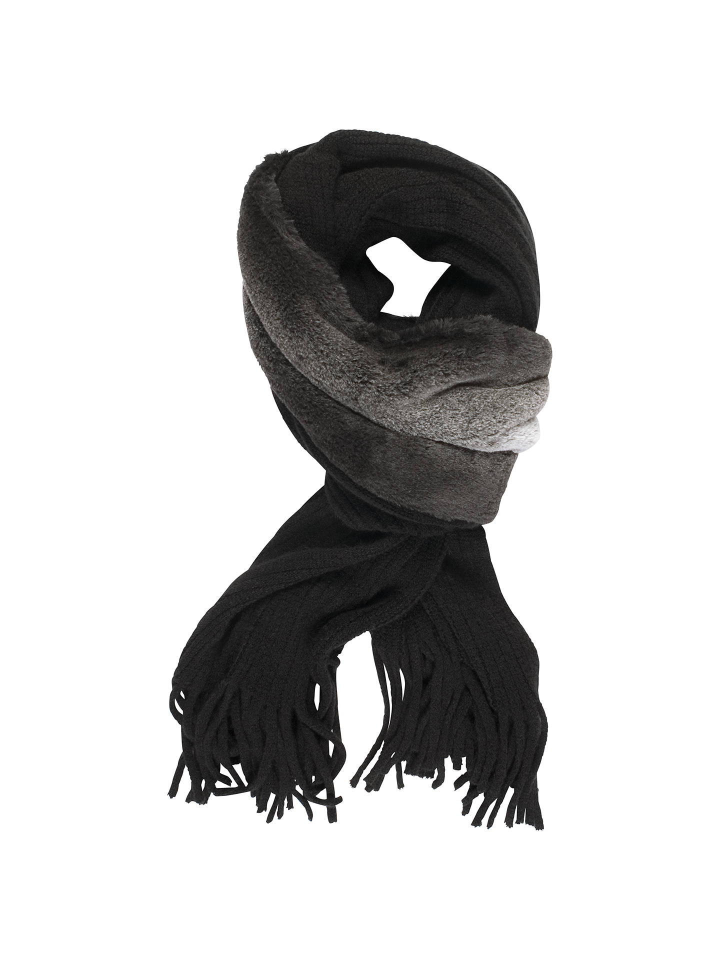 Buy Chesca Knit and Faux Chinchilla Scarf, Black Online at johnlewis.com