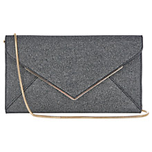 Buy Oasis Glitter Envelope Clutch Bag, Metallic Pewter Online at johnlewis.com